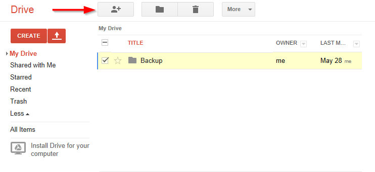 Google Drive Share Folder File Webpage