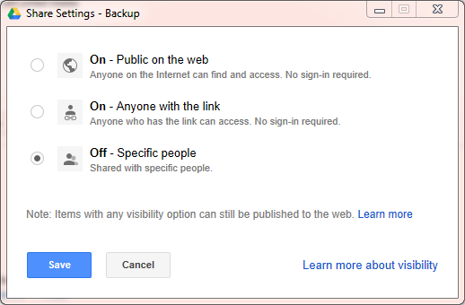 Google Drive Share Permission Settings