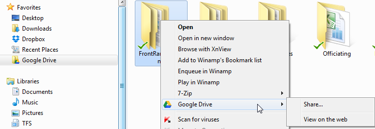 Google Drive Windows Explorer Right Click Share
