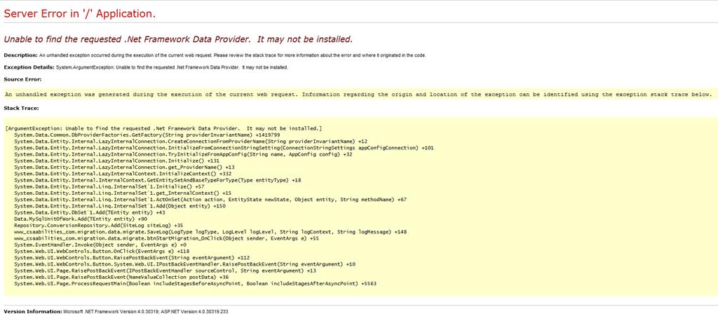 MySQL Provider Error