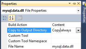 Visual Studio Copy dll To Output Folder
